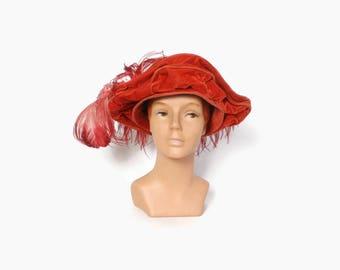 Vintage EDWARDIAN HAT / 1910s Dramatic Dark Pink Velvet Tall Crown Plumed Feathers Titanic Era Hat