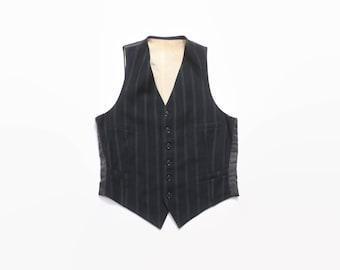 Vintage 40s Men's Vest / 1940s Pinstripe Back Wool Waistcoat S
