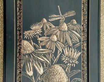 Cone flower painting, coneflower wall art, flower art, dragonfly art, dragonfly painting, wood burning,art by clare,wood wall art,flower art