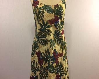 Vintage Hawaiian Tropical Palm Leaf Sundress