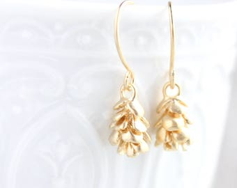 Matte Gold Pinecone Little Dangles Earrings Small Pine cone Nature Jewelry Woodland Wedding Gift for Her Women Small Modern Drop Earrings