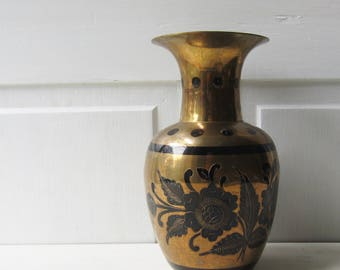 "Vintage Brass Vase with Black Dots and Floral Etched / Painted Design - Boho Home Decor - 9 1/4"" Tall"