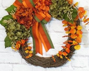 Summer Wreath, Fall Wreath, Hydrangea Wreath, Summer Thru Fall Decor