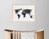 World Map Poster, Nursery Boy Art , Large Wall Map Poster, Adventure Awaits Typography Poster, Black White Map Adventure Travel Artwork
