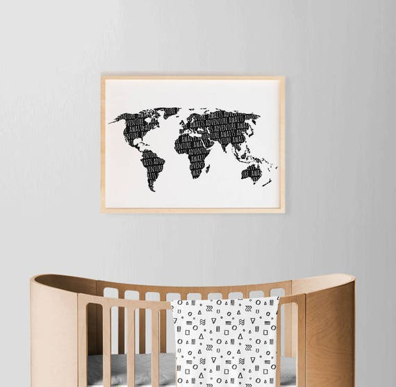 World map poster nursery boy art large wall map poster like this item gumiabroncs Images