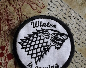 Game of Thrones, 'Winter is coming',  House Stark, Direwolf, round patch patches UK