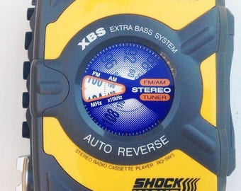 Vintage Panasonic Shockwave RQ-SW5 Walkman Cassette AM/FM Weather Proof Works Xbs Yellow Sport