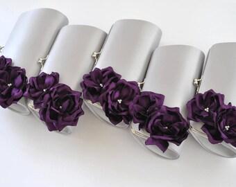 SILVER and DEEP PURPLE - Wedding clutch - Custom clutch - Bridal_Bridesmaids_Prom_Mother of the Bride / Custom clutch