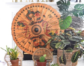 stunning oriental asian chinese orange oil paper umbrella // parasol