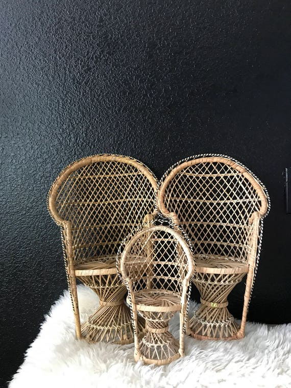 mini vintage wicker peacock chair planter / plant stand / doll chair / boho chic / 1 chair