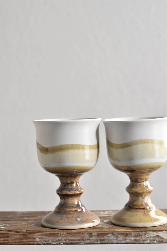 pair of gorgeous tan beige stoneware ceramic pottery goblets / iridescent stemware