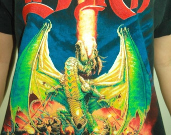 Vintage DIO Shirt 1990s Tee Dragon Concert shirt Band Tee Black Sabbath L