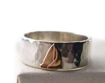 14K Gold Ship Ring, Men's Wedding Band, Sterling Silver Ring, Custom Engraved Sailboat Ring, Sailing Ship Jewelry, Personalized Gift