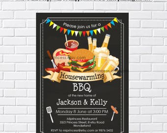 housewarming invitation, bbq invites, New house Housewarming BBQ gathering party Invitation, Chalkboard Backyard, Barbecue - card 443