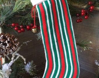 Vintage STRIPED Knit STOCKING, Red Green White SWEATER Stocking, Vintage 1980s Kurt Adler Stocking, Vintage Retro Christmas Decoration