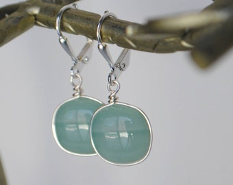 Stormy Seas Fused Glass Earrings