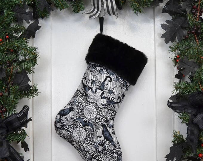 Gothic Punk Rock Christmas Stocking, Scorpions Ravens, Spider Webs, Black and White, Black Faux Fur, Halloween Decoration