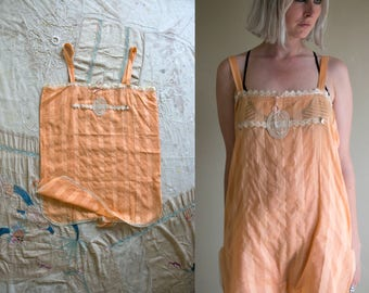Vintage 1920's Peach Striped French Lace Step In Romper, Camiknickers 44 XL, Women's Lingerie, 20's