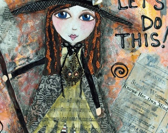 ADVENTURE, Little WITCH, ACEO, Mini Art Print, Halloween, Art, Collectible Art, Gift Card, Trading Card, Mixed Media Print, Art Card