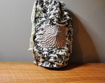 Japanese Boro Bag made from Upcycled Textiles/ Handmade Sashiko Bag/Kanji Patchwork
