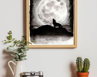 Wolf Howl - Wolf and Moon Ink and Watercolor Painting by Rachael Caringella - Tree Talker Art