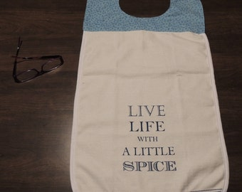 Blue & Cream Spice of Life Adult Bib - Clothing Protector - Shirt Saver - Teens - Special Needs - Dignity - hospital bib