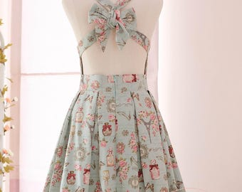 Floral Dress French Blue Cross Back Bow Party Prom
