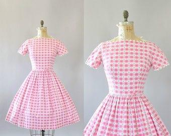 Vintage 50s Dress/ 1950s Cotton Dress/ Lanz Pink Gingham Cotton Dress w/ Ric-Rac S/M
