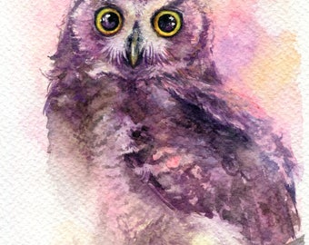 """PRINT – Little Horned Owl - Watercolor painting 7.5 x 11"""""""