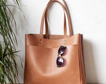 Xmas SALE Large Tan Leather Tote bag No. LPB-1015