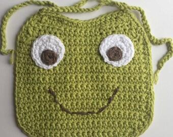 Crocheted Baby Bib – Frog Baby Bib - Handmade Baby Bib