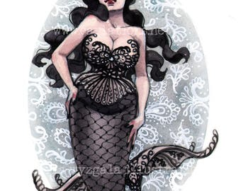 Pin Up Mermaid Black Lace watercolor painting art print Carla Wyzgala carlations