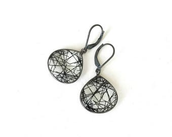 Silver Black Rutile Quartz Earrings