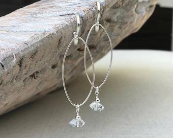 Diamond Earrings, Herkimer Diamond Earrings, Herkimer Diamond Earrings Silver, Silver Herkimer Diamond Hoop Earrings, Herkimer Diamond Hoop
