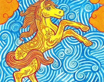 Chinese Year of the Horse Handmade 5 x 7 Greeting Card