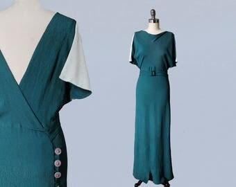 RESERVED 1930s Dress / Amazing 30s Teal Crepe Wrap Dress / Gown / LOW V BACK / Color Block Split Sleeves