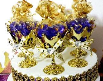 12 NEW Crown Prince Gold Cup Favors For Royal Baby Shower / Perfect For A  Purple