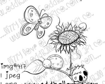 Digital Stamp Instant Download Cute Whimsical Spring Garden ~ Lets Meet at the Sunflower  Image No. 417 by Lizzy Love