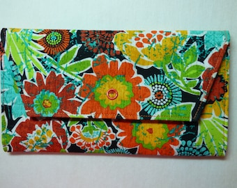Abstract Flowers Fabric Wallet