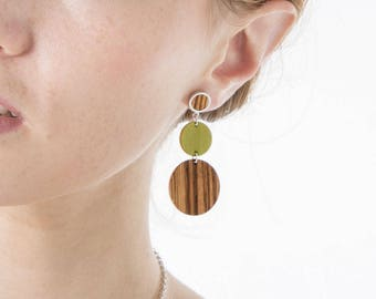 Earrings large stud, boho beach earrings, summer studs, green brown earrings, geometric earrings, long dangle earrings, gifts for women
