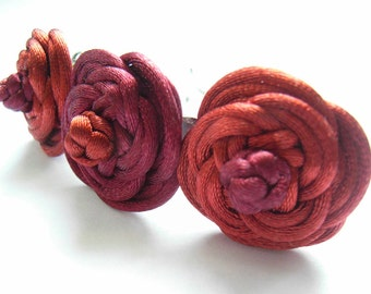 Chinese Knot Rose Hair Barrette with Three Roses - Maroon & Rusty Brown
