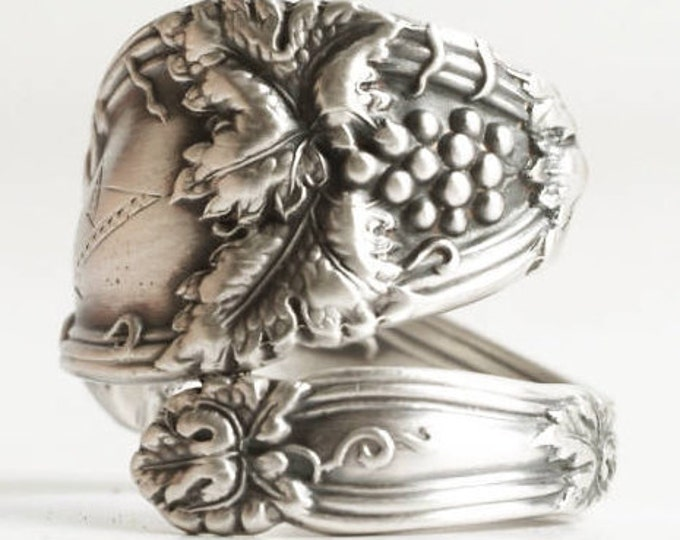 Grape Vine Ring, Antique Spoon Ring Sterling Silver, Grape Leaves, Wine Gifts, Engraved A, Custom Ring Size, 925 International Cloeta (6838)