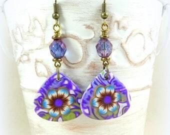 Lightweight Purple Flower Earrings, Purple Earrings, Artisan Clay Drops with Czech Glass Beads, Boho Artisan Earring, Flower Earrings