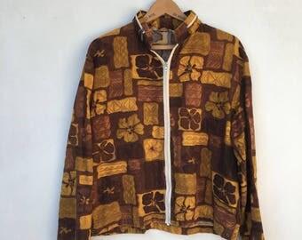 Vintage 50s/60s Hawaiian Print Cotton Windbreaker Jacket L