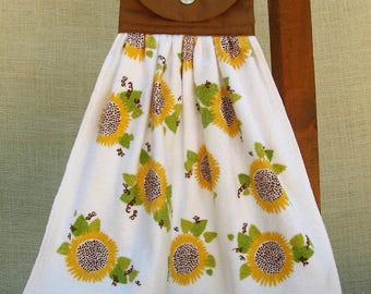 Sunflower Kitchen Tea Towel, Fall Colors Hanging Dish Towel, Yellow Sunflowers, Brown Kitchen Decor