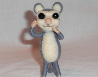 "Small Needle Felted Mouse Critter ""Greygorio"" - Free Shipping to US and Canada"