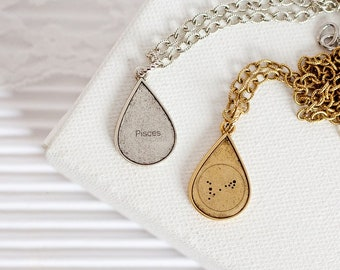 Pisces Constellation Necklace, Pisces Star Sign Necklace, Pisces Sign Necklace, Zodiac Necklace, Silver Necklace, Gold Necklace, Pisces Gift