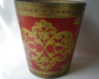 Vintage Florentine Gold and Red Waste or Trash Basket