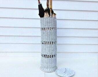 Vintage Tall Wicker Basket | Toilet Paper Holder | Wicker Umbrella Holder | Wicker Umbrella Stand | Roll Paper Holder | Lidded Basket