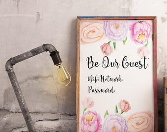 Wifi password printable - Be our guest sign - Guest room sign - Wifi password sign -  Wifi sign - Internet password sign - Printable